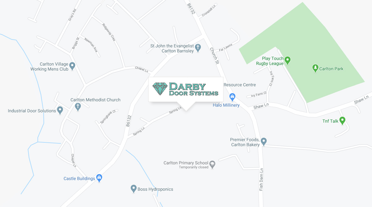 Contact / Location Map for Darby Door Systems: 14 Spring Lane, Carlton, Barnsley, South Yorkshire S71 3EX